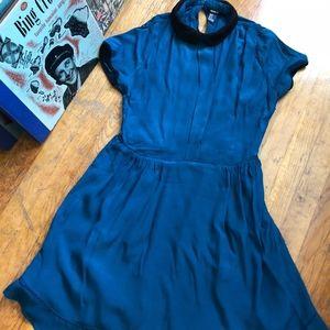 F21 Collared Dark Teal Dress